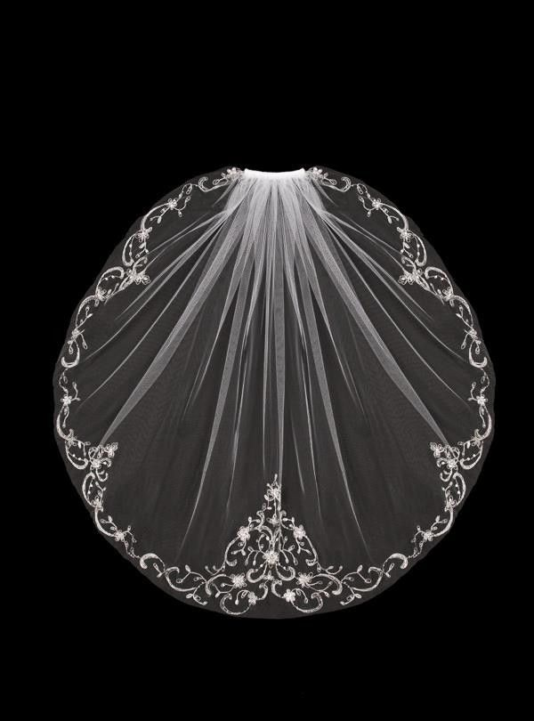 Mantilla Bridal Veil with Silver Embroidery Sequins and Rhinestones | Cassandra Lynne