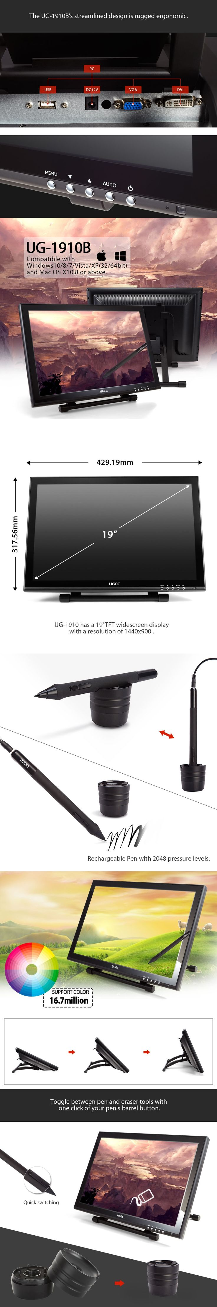 "UGEE 1910B 19"" Graphics Drawing Tablet Screen Monitor Graphics Pen LCD IPS Drawing Monitor Digital Drawing Pen Display"