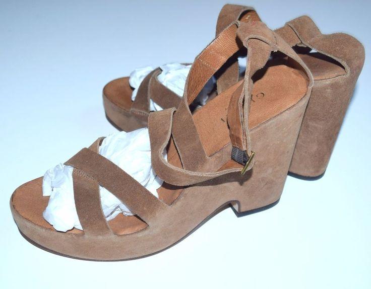 Gucci Designer 9.5 B Brown Suede Leather Wedge Vintage Sandals Shoes SS1 #Gucci #Vintage