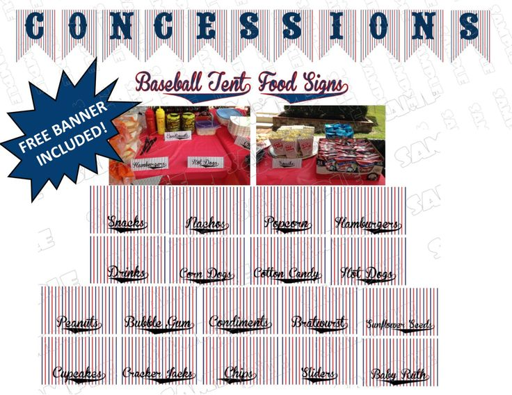 Baseball Party Food Signs and Concessions Banner 18 Food Signs Printable INSTANT DOWNLOAD  UPrint  by greenmelonstudios by greenmelonstudios on Etsy