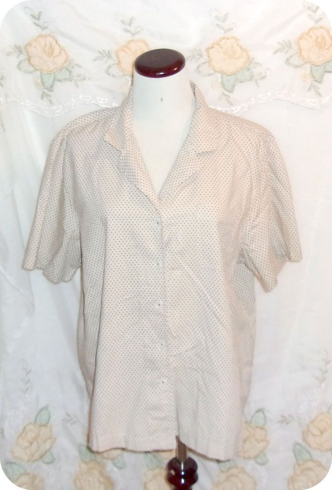 Classic Elements Womens Top Size XL Tan Brown Polka Dot Button Down Short Sleeve #ClassicElements #ButtonDownShirt #CareerCasual #Fashion #Clothing #Womens #Top #SizeXL