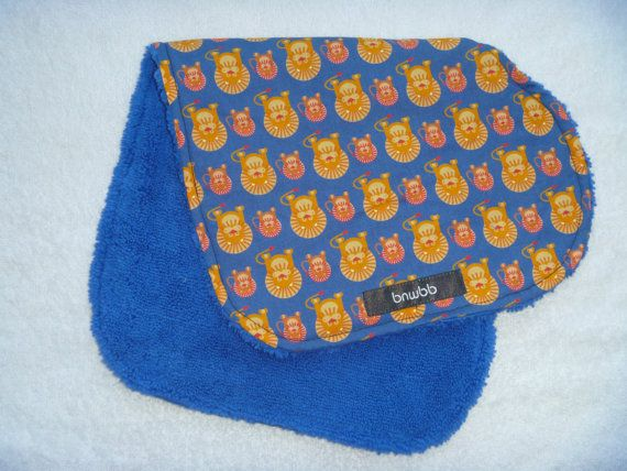 Retro Lion Microfiber backed contoured baby burp cloth by bnwbb on Etsy