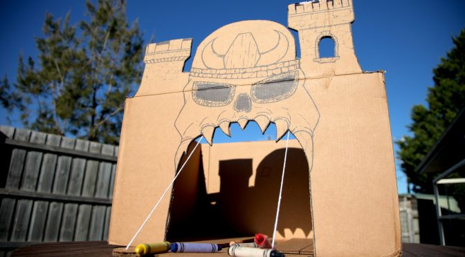 A cardboard box and some crayons? NOT DAD ENOUGH! Occupy your kids for hours with this awesome Cardboard Castle Grayskull straight out of He-Man and the Masters of the Universe. Drop down drawbridge... what could be cooler?