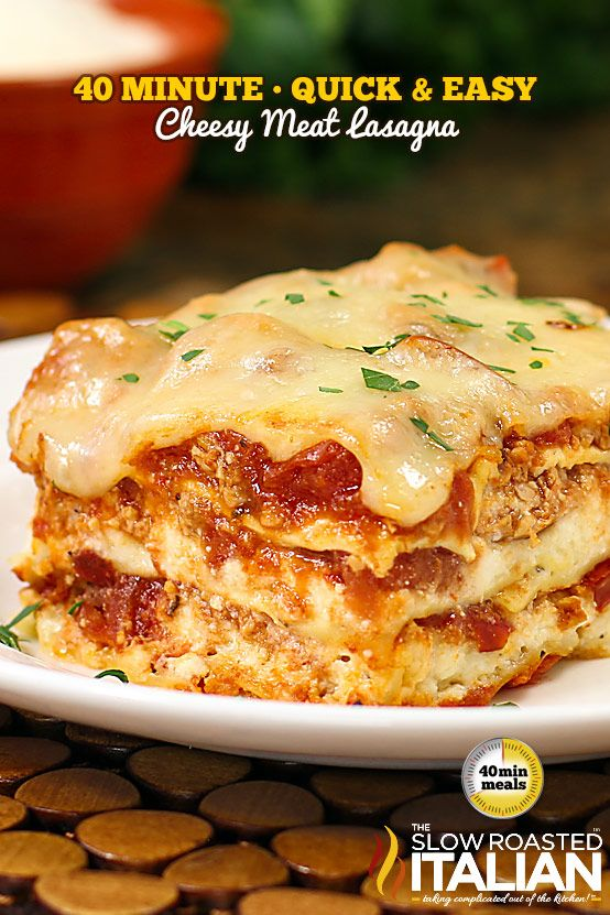 40-Minute Quick and Easy Cheesy Meat Lasagna. With 5 Cheese Italian Blend Shredded Cheese and 3 Cheese Grated Parmesan it is rich, creamy and oh so cheesy!
