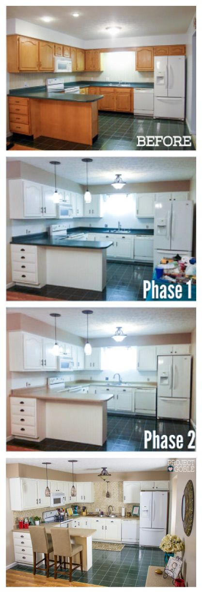 402 best images about decorating on pinterest snowflakes - Builder grade oak kitchen cabinets ...