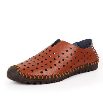 Men Hollow Out Oxfords Breathable Soft Leather Shoes - US$39.99
