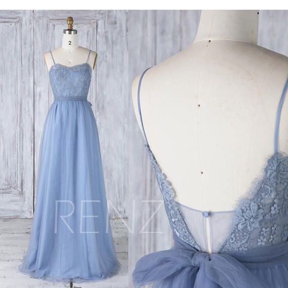 Bridesmaid Dress Steel Blue Sweetheart Lace Tulle Wedding Dress,Spaghetti Straps Prom Dress,A line Open Back Maxi Dress Full Length(LS326)