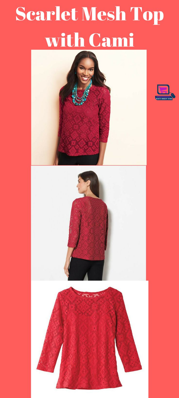 Scarlet Mesh Top with Cami #womentops #womentopcasuals #womenclothing #shopwommenclothing #buywomenclothing #fashion #womenblouses  women topples | women tops | women top hat | women tops casual | women top knot | Top Women Top Jobs | Women Tops / Blouses | women tops | Women Tops And Blouses |