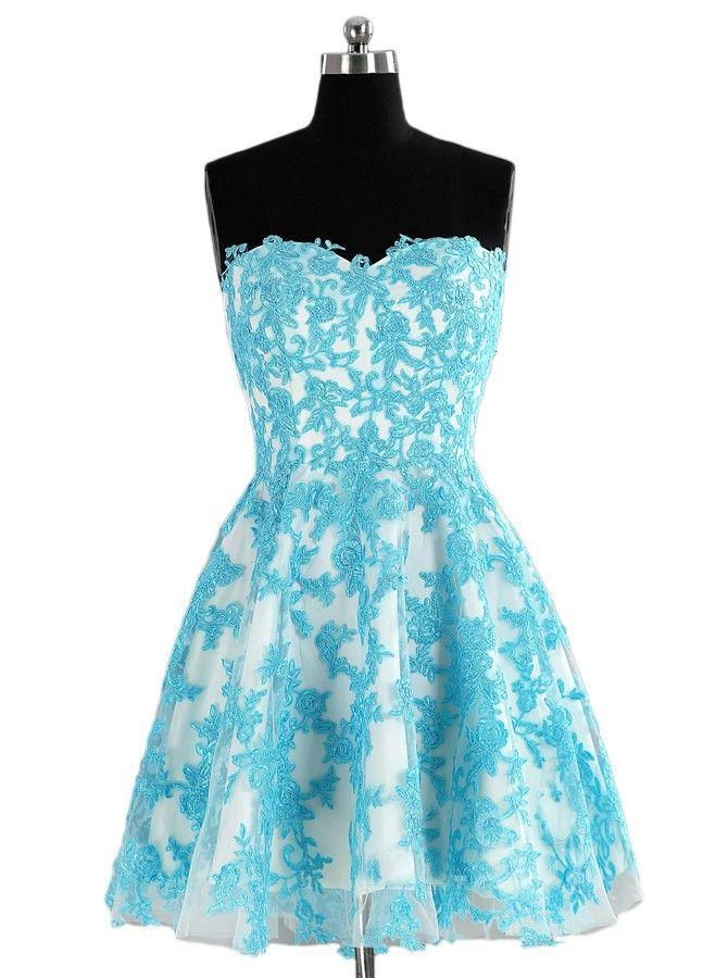 Sweetheart Above-knee Blue Organza Homecoming Dress,Prom Dress,Graduation Dress,Party Dress,Short Homecoming Dress,Short Prom Dress