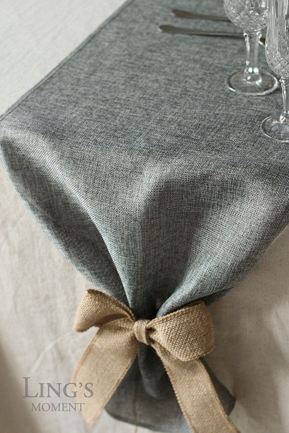 Amazing 14 Inch Grey Burlap Table Runner Length By BlissByLingsMoment