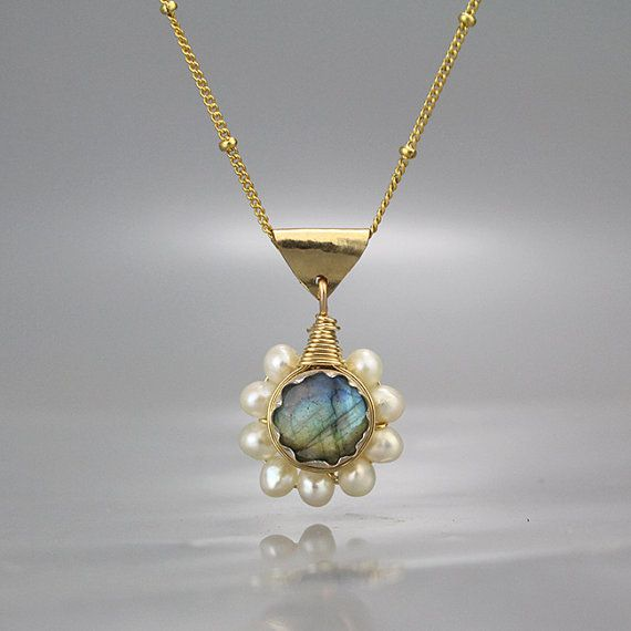 Boho Necklace, Labradorite Pearl Flower Necklace, Pearl Jewelry, June Birthstone, Boho Chic Necklace, Bohemian Necklace, Birthday Gift