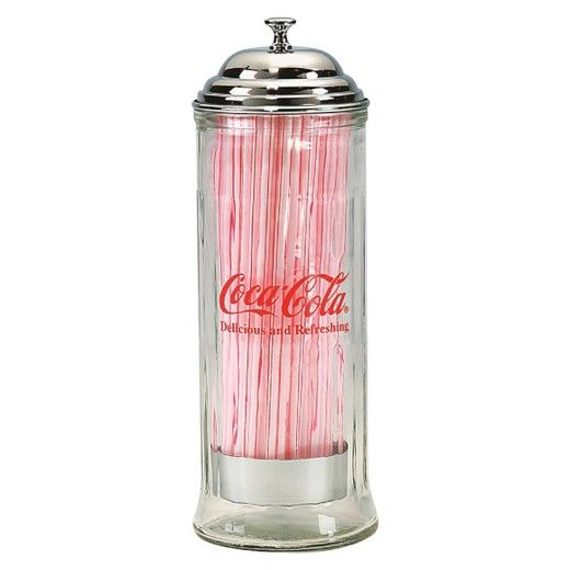 Dress your table up just like the ones in a classic diner with this TableCraft Coca-Cola Straw Dispenser. With its chrome top, clear middle and Coca-Cola logo it will keep straws handy for you and your guests while it adds a charming accent to any eating area. Keeps straws clean and nearby for use whenever someone wants one. Wipe clean.