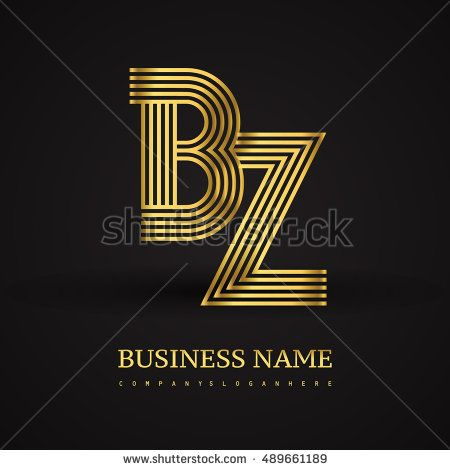 Elegant Initial logo BZ letter gold colored. Vector design template elements for company identity.