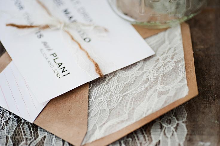 Lace envelope liner