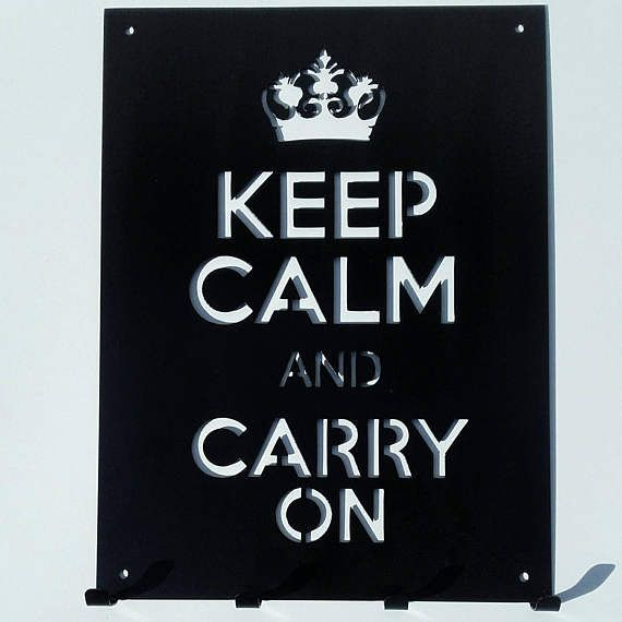 Check out this item in my Etsy shop https://www.etsy.com/listing/522192031/metal-decor-sign-with-hooks-keep-calm