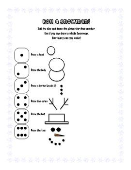 Roll the dice and see which part of a snowman you get to draw!  Continue on until the entire snowman is drawn.  Do not repeat steps- if you have al...
