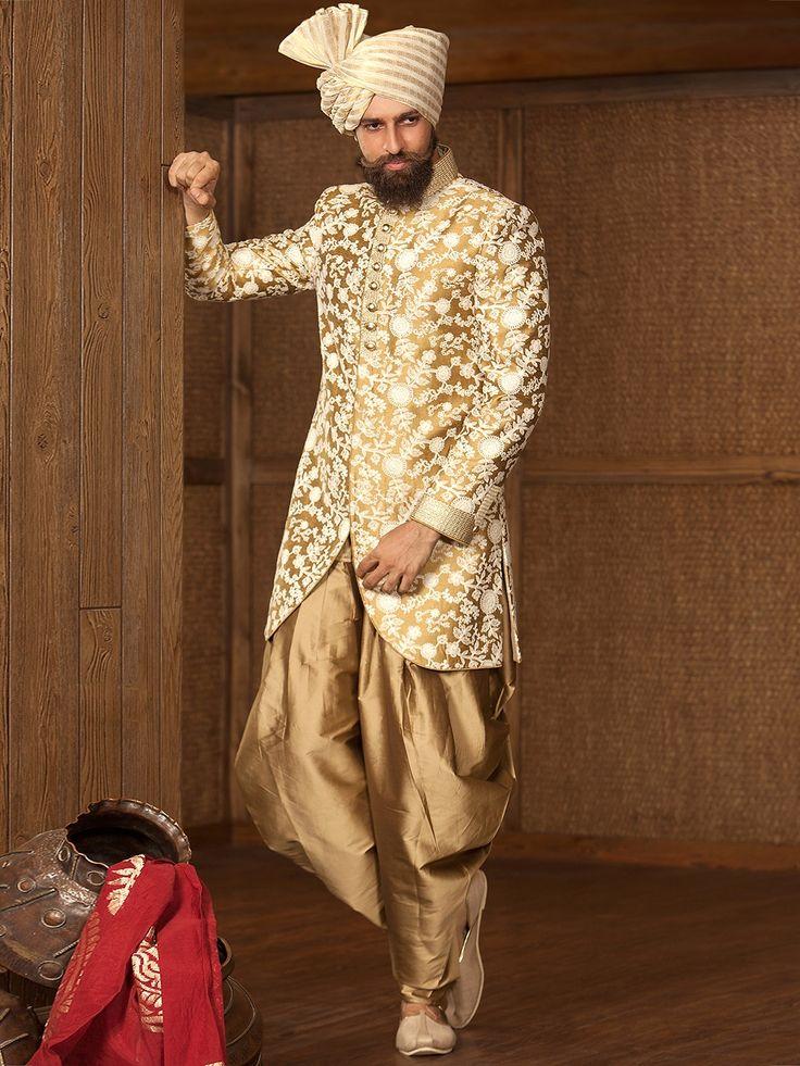 Golden Raw Silk Embroidered Indo Western Sherwani