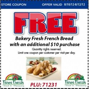 Farm Fresh Supermarket Coupon for FREE French Bread This Weekend!