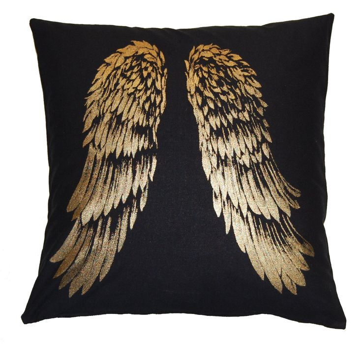 Metallic Gold Wings on 100% Black Cotton Cushion Cover - 45x45cm (18inch)