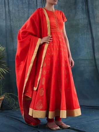 Chanderi Silk Red Anarkali With Block Prints #kurta #Dupatta #ethnicstyle #style #elegant #dress #suit #indiandesigner #ethnic #accessories #partywear #celebration #festive #dress #couture #beautiful #embroidered #fashion #clothing #silk #ethnic #indiandesigner #stylist #fashionblogger #trendy #follow #stepintostyle Shop Now: http://bit.ly/1PqIcob