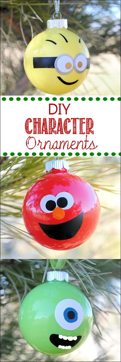 Make your own ornaments-Minions, Elmo, monsters and more #crafts #diy #ornaments