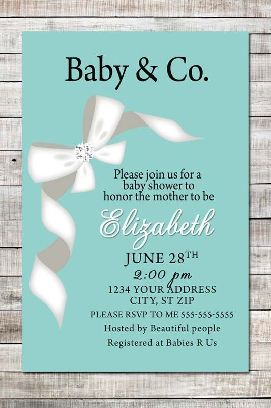 Baby and Co. Custom Baby Shower Printable Invitation, Baby Girl or Baby Boy Shower Invite, Party Supplies, Tiffany and Co. inspired Blue