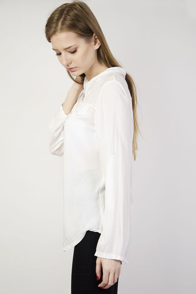 Koszula asymetryczna mgiełka biała z cekinami