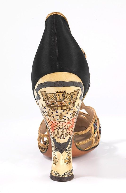 Shoes, Evening. Delman (American, founded 1919). Date: 1935–40. Culture: American. Medium: silk, leather, plastic, rhinestones. Dimensions: 7 1/2 x 9 in. (19.1 x 22.9 cm).