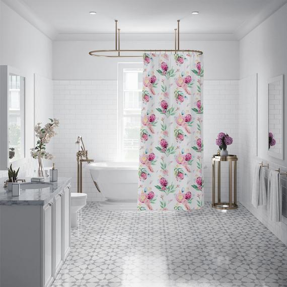 Watercolor Pink Floral Custom Shower Curtain Rose Leaf Pattern Fabric Bath Curtain Machine Washab In 2019 Custom Shower Curtains Long Shower Curtains Custom Shower