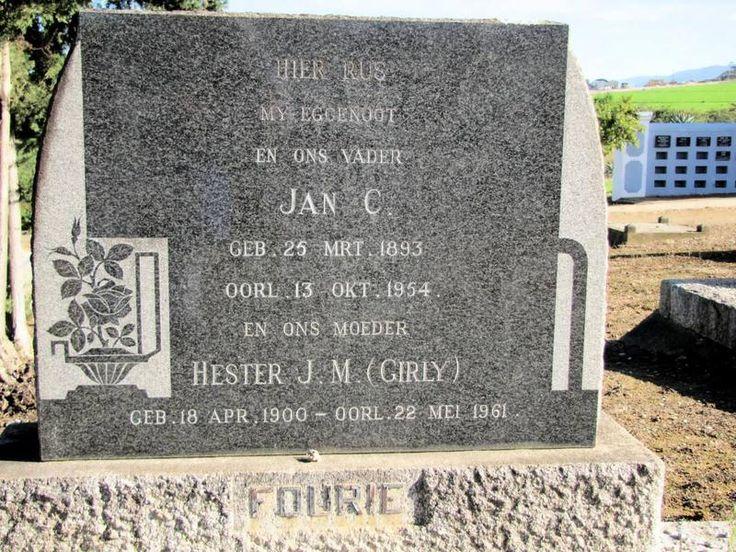 FOURIE Jan C. 1893-1954 & Hester J.M. 1900-1961 Western Cape, HEIDELBERG, main cemetery