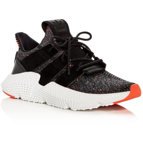 Adidas Women's Prophere Knit Lace Up Sneakers ($120) ❤ liked on Polyvore featuring shoes, sneakers, black, adidas trainers, lacing sneakers, knit shoes, laced sneakers and lace up shoes