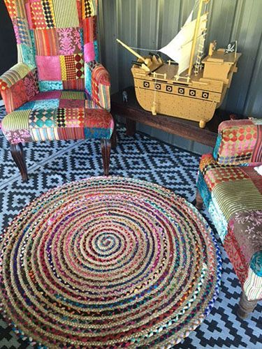 Chindi Rug | Indian Floor Rug | Round Medium| Recycled Mats