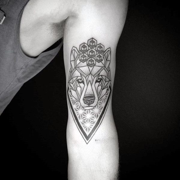 Flower Of Life Geometric Wolf Tattoos For Guys On Bicep Of Inner Arm