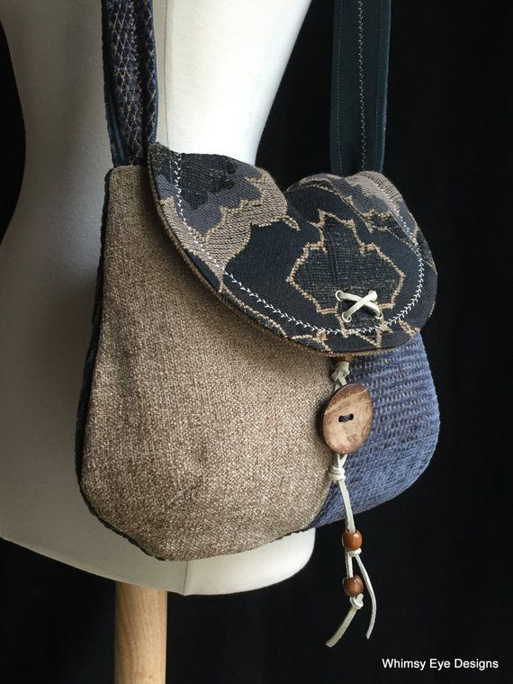 UPCYCLED HANDBAG – OOAK Shoulder Bag – Medium Purse – Upcycled – Repurposed – Navy Blue – Warm Neutral Beige – Eco Friendly