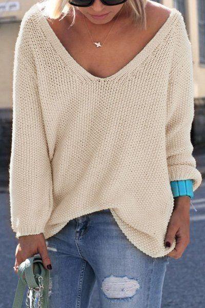 Womens V Neck Knit Sweater