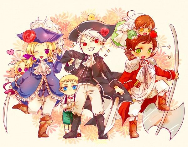 Hetalia bad touch trio BTT pirates France with Canada and Prussia with Germany and Spain with Romano