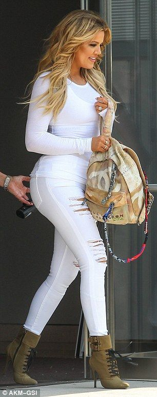 Jet-setting: Khloe has just returned to Los Angeles after a trip to New York (pictured at ...