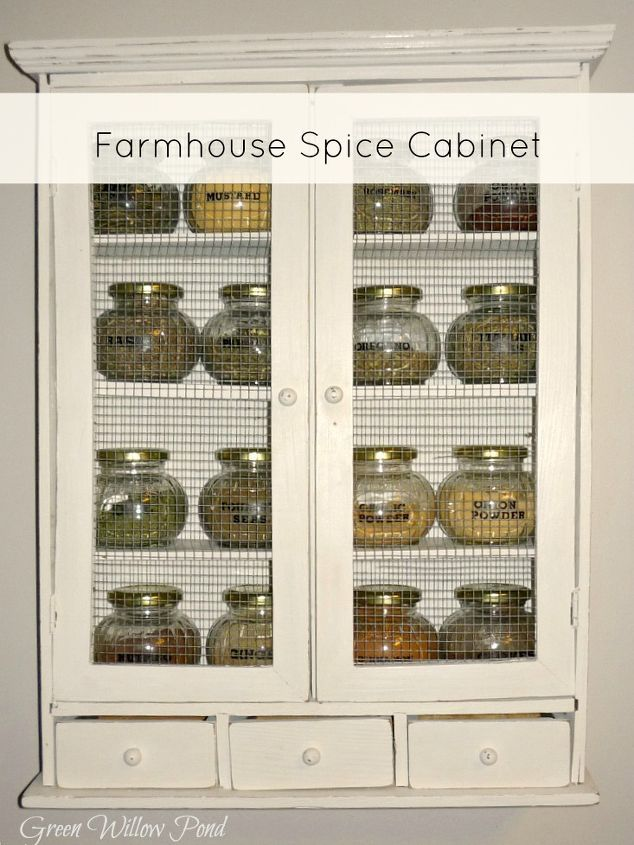 dilapitated cabinet turned farmhouse spice cabinet, cleaning tips, kitchen cabinets, repurposing upcycling, storage ideas, Farmhouse spice cabinet after