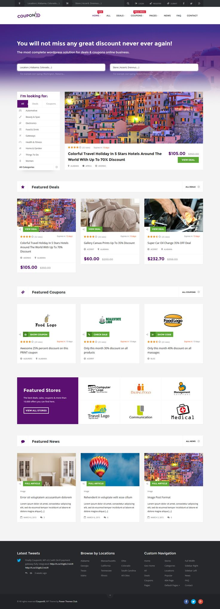 CouponXL - Coupons, Deals & Discounts WordPress Theme #webdesign #website Live Preview and Download: http://themeforest.net/item/couponxl-coupons-deals-discounts-wp-theme/10721950?ref=ksioks