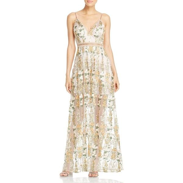 Aqua x Maddie & Tae Embroidered Beaded Maxi Dress - 100% Exclusive ($200) ❤ liked on Polyvore featuring dresses, gold, maxi dresses, embroidered dress, boho maxi dress, floral print maxi dress and bohemian maxi dress