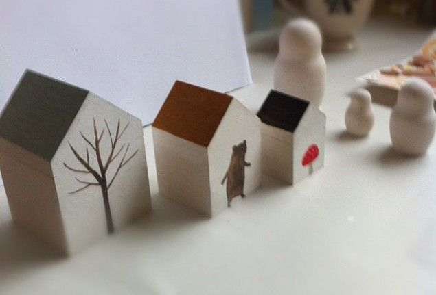 Little art houses. I like the idea of putting different images on the sides of the houses ;)
