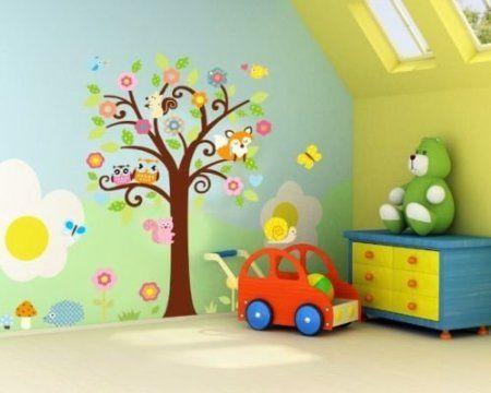 WallStickersDecal® Dschungel Wald Eule, Eichhörnchen Fox & Gesang auf bunten Baum Wandtattoos für Kinderzimmer: Amazon.de: Baby