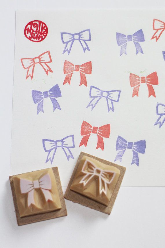 ribbon stamp. bow tie stamp. hand carved rubber stamp. wedding stamp. bridal stamp. diy wedding. silhouette/line. mounted. CHOOSE ONE