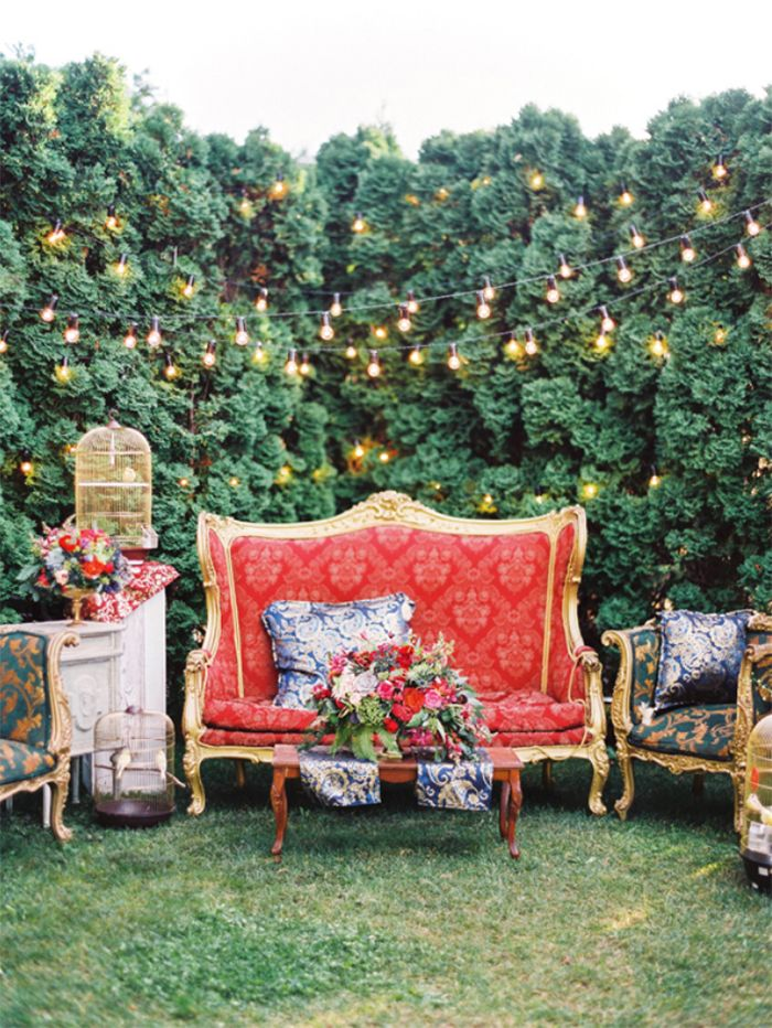 Al Fresco Photo Booth with vintage furniture