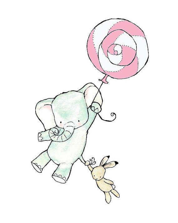 Baby Art -- Come Fly With Us Pink balloon on white -- 5x7 -- Art Print -- elephant and bunny. $10.00, via Etsy.