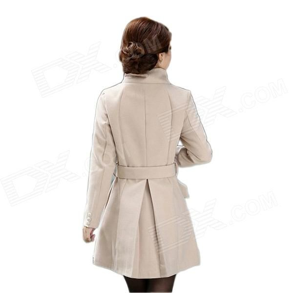 Laibida Fashionable Autumn Winter Long Thicken Coat for Women - Apricot (M)