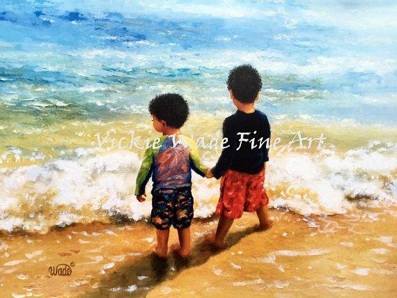 Beach Boys African American Art Two Brothers Beach Wall Art Boys