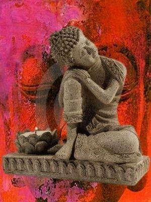 Boeddha met kaarshouder steengrijs € 7,50