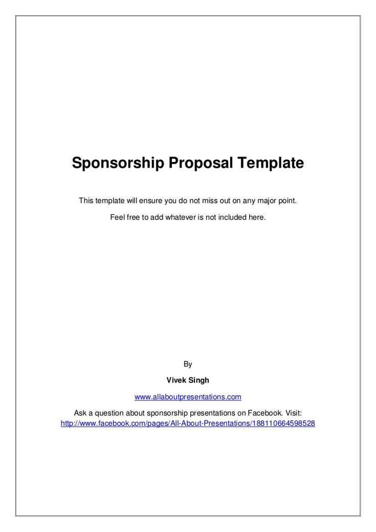 Sponsorship Proposal Template by Vivek Singh via slideshare