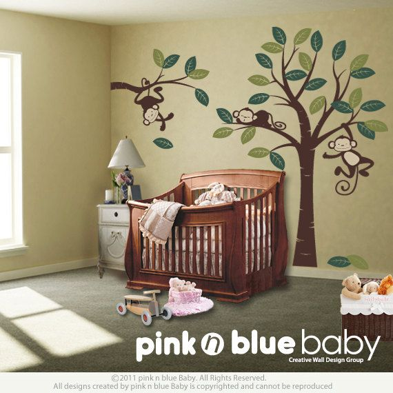 Wall Decals Three Monkeys And Tree Nursery Décor